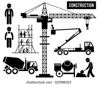 Construction Scaffolding Tower Crane Mixer Truck Sky Lift Heavy Industry Pictogram