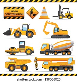 Construction set. Vector vehicles and tractors.