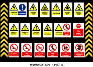 Construction Signs building site, construction environments, vector isolated on white