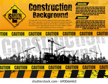 Construction silhouette background.