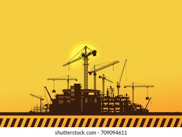 Construction silhouette background