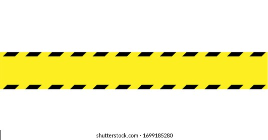 Construction site barrier warning tape banner in yellow-black, Vector illustration isolated on white background
