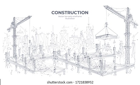 Construction site with building equipment isolated in white background. 3d working tower cranes in the city. Abstract polygonal concept of construction. Vector sketch illustration