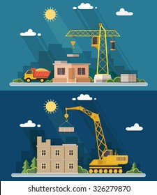 Construction site, building. Front apartment house. Industrial concept. Flat style vector illustration.