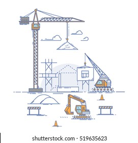 Construction site, building a house. Thin line flat design modern vector illustration concept. Thin line art style design for business startup. Construction with building crane and excavator