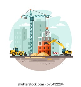 Construction site, building a house. Vector illustration.