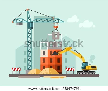 construction site building house vector flat のベクター画像素材