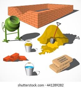 Construction site. Building materials. Construction materials. Vector illustration EPS10.