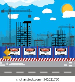 Construction site with buildings and cranes. skyscraper under construction. fence. vector illustration silhouette and blue sky.