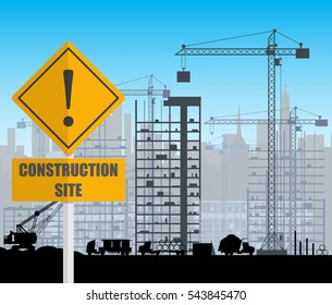 Construction site with buildings and cranes. skyscraper under construction. fence. vector illustration silhouette and blue sky