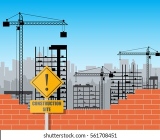 Construction site with buildings and cranes. skyscraper under construction. brick wall. vector illustration.