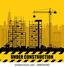 Construction site with buildings and cranes. Skyscraper under construction. In black and yellow. Vector illustration silhouette