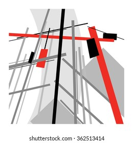 Construction site with crane / Abstract geometric vector illustration / Suprematism art style