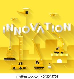 Construction site crane building Innovation text, Vector illustration template design