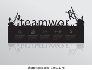 Construction site crane building teamwork text idea concept, Vector illustration template design