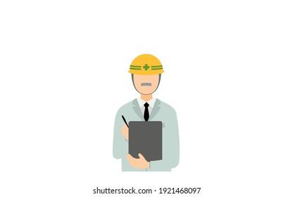 Construction site director pose set, senior male