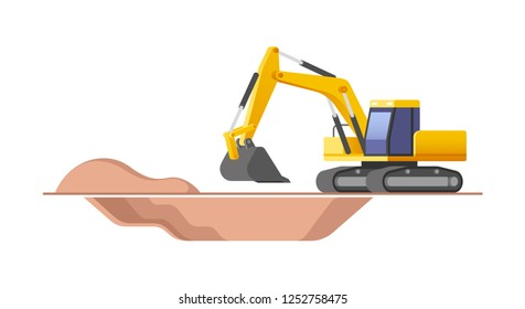 Construction site. Excavator moving with raised shovel during soil moving works. Vector illustration.