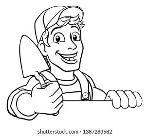 Construction site handyman builder man holding a trowel tool cartoon mascot. Peeking over a sign