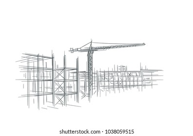 Construction site line sketch, hand drawn, vector.