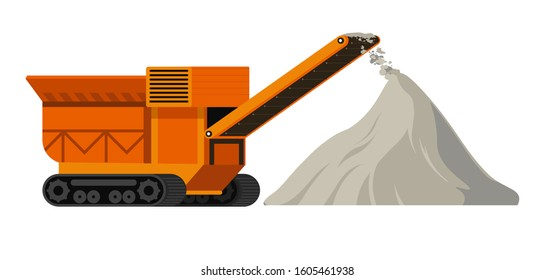 Construction site machinery and materials, industrial machine and cement pile