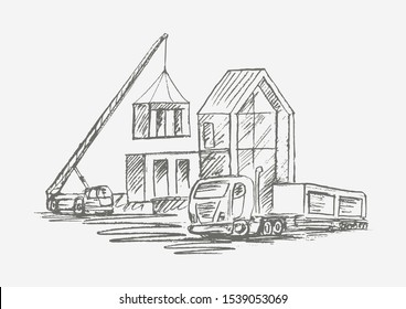 Construction site of modular house with crane and machinery. Hand drawn isolated vector.