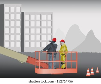 Construction Site Planing Two Men On Heavy Equipment