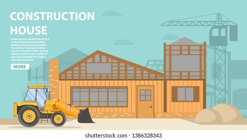 Construction site. Residential building  a brick and wooden apartment house.Construction equipment crane.Home facade garage car. Vehicles freight transportation. Flat vector. Yellow bulldozer tractor.