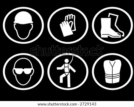 Construction Site Safety Equipment Symbols Stock Vector Royalty