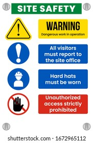 Construction Site Safety Sign. Eps 10 vector illustration.