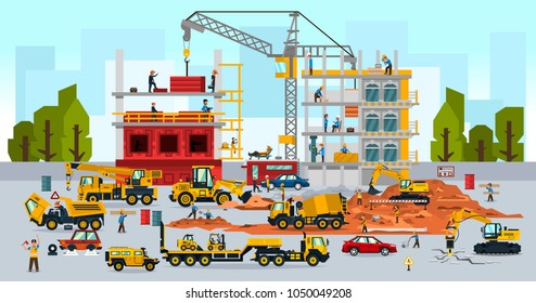 Construction site, the work of a large group of builders, building a house. A set of service vehicle, repair, cars, crane. Vector illustration, a flat style.