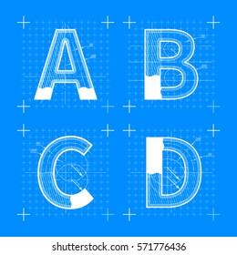 Construction sketches of A B C D letters. Blueprint style font.