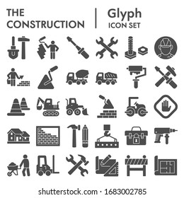 Construction solid icon set. Building industry signs collection, sketches, logo illustrations, web symbols, glyph style pictograms package isolated on white background. Vector graphics