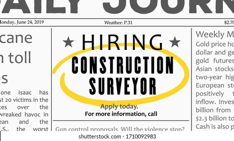 Construction surveyor - job offer. Newspaper classified ad career opportunity.
