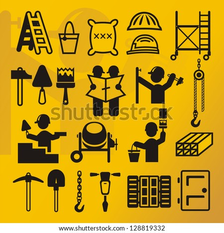 Construction Symbols Compilation Stock Vector Royalty Free