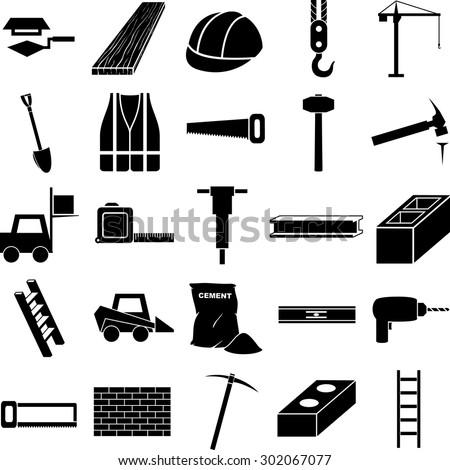 Construction Symbols Set Stock Vector Royalty Free 302067077