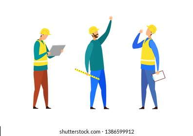 Construction Team, Crew Cartoon Characters Set. Building Industry. Foreman in Yellow Vest Looking at Tablet, Engineer in Helmet Holding Ruler. Builder with Clipboard Giving Orders. Faceless Workers