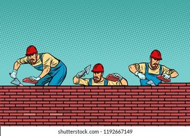 construction team laying a brick wall background. Pop art retro vector illustration vintage kitsch