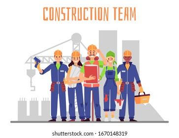 Construction team workers, architects and engineers cartoon characters in blue overalls at building site backdrop, flat vector illustration isolated on white background. - Shutterstock ID 1670148319
