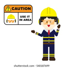 Construction ,Technician worker pointing caution sign, safety first concept ,vector illustrator