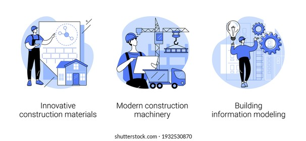 Construction technology innovation abstract concept vector illustration set. Innovative construction materials, modern machinery, building information modeling, project management abstract metaphor.