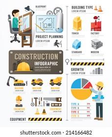 Construction Template Design Infographic . concept vector illustration