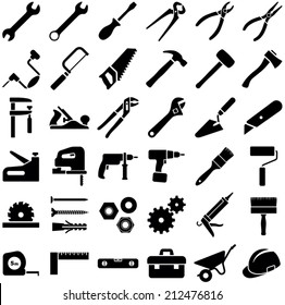 Construction tool icon collection - vector illustration