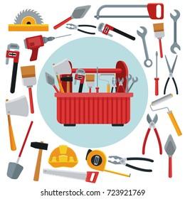 Construction toolbox service Vector Ilustration icon urban