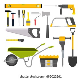 Construction. Tools for building and installation. Trolley, case for tools, hammers, saw, hacksaw, grinder, brush, axe, tape measure, shovel, screwdriver, roller, grinder, line. Cartoon flat style