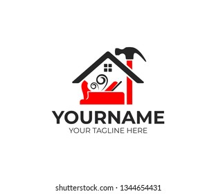 Construction and tools, carpenter or joiner plane, hammer and home, logo design. House building, real estate, repair and improvement, vector design and illustration