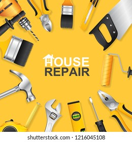 Construction tools concept set all of tools supplies for house repair builder on yellow background vector illustration
