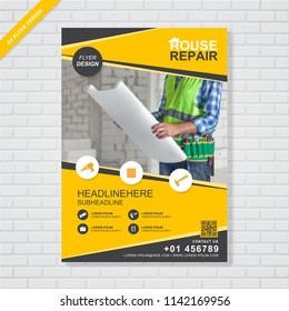 construction tools cover A4 template for a report and brochure design, flyer, leaflets decoration for printing and presentation vector illustration