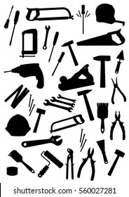 Construction tools icons. Vector saw or fretsaw, pliers and hammer, safety helmet, trowel and paint brush roll, electric drill, tape measure, spanner, screwdriver with screws, plane and wrench