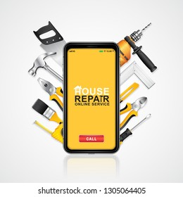 Construction tools online service phone with set all of tools supplies for house repair builder on white background vector illustration