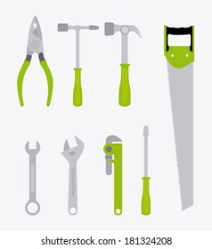 construction tools over  background vector illustration